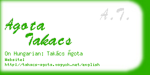 agota takacs business card